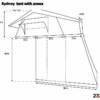 dimensions of sydney roof top tent open